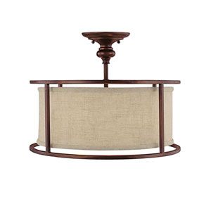 Midtown Burnished Bronze Three-Light Semi-Flush
