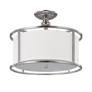 Midtown Polished Nickel Three-Light Semi-Flush