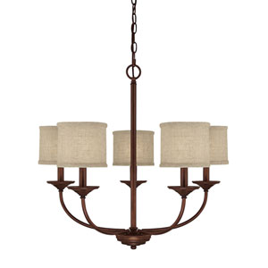 Loft Burnished Bronze Five-Light Chandelier