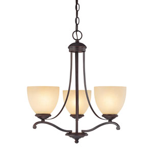 Chapman Burnished Bronze Three-Light Chandelier with Tumbleweed Glass