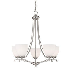 Chapman Matte Nickel Five-Light Chandelier with Soft White Glass