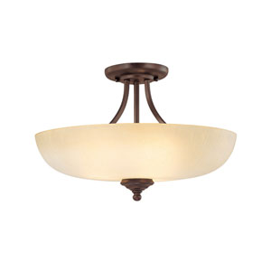 Chapman Burnished Bronze Three-Light Semi Flush Mount with Tumbleweed Glass