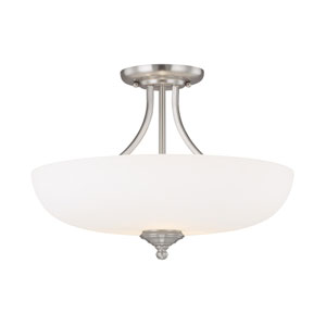Chapman Matte Nickel Three-Light Semi Flush Mount with Soft White Glass