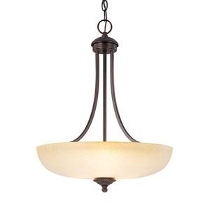 Chapman Burnished Bronze Three-Light Pendant with Tumbleweed Glass