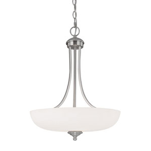Chapman Matte Nickel Three-Light Pendant with Soft White Glass
