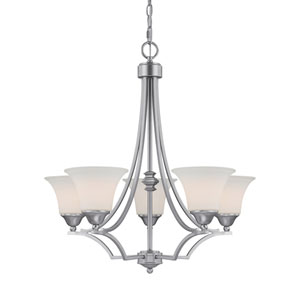 Towne and Country Matte Nickel Five-Light Chandelier