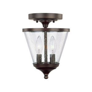 Stanton Burnished Bronze Two-Light Convertible Semi Flush Mount with Soft White Glass