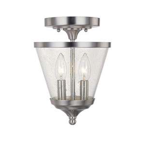 Stanton Brushed Nickel Two-Light Convertible Semi Flush Mount with Soft White Glass