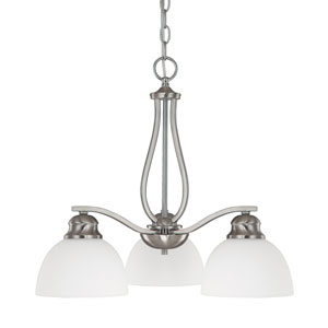 Stanton Brushed Nickel Three-Light Chandelier with Soft White Glass