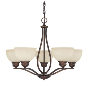 Stanton Burnished Bronze Five-Light Chandelier with Mist Scavo Glass