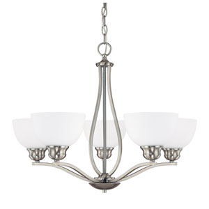 Stanton Brushed Nickel Five-Light Chandelier with Soft White Glass