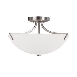 Stanton Brushed Nickel Three-Light Semi Flush Mount with Soft White Glass