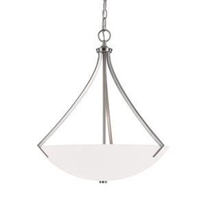 Stanton Brushed Nickel Three-Light Pendant with Soft White Glass