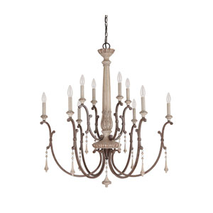 Chateau French Oak 10 Light Chandelier with Solid Wood Column