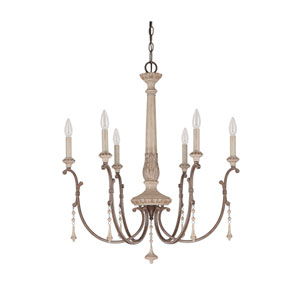 Chateau French Oak Six Light Chandelier with Solid Wood Column