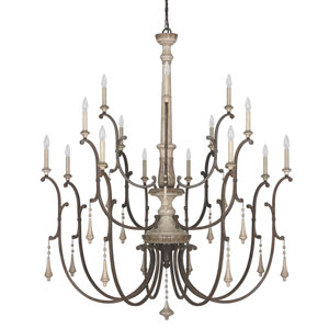 Chateau French Oak Sixteen-Light Chandelier