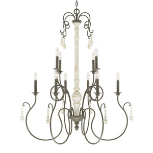Vineyard French Country Ten-Light Chandelier