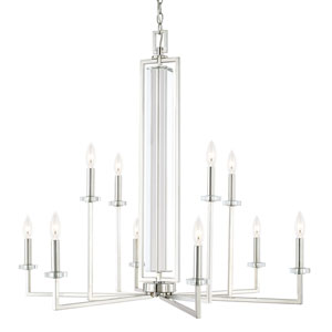 Hudson Polished Nickel Ten-Light Chandelier