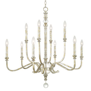 Charleston Silver and Gold Leaf Ten-Light Chandelier