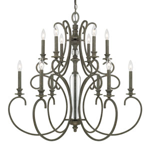 Everleigh French Greige Twelve-Light Chandelier