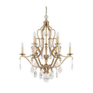 Blakely Antique Gold 10 Light Chandelier with Crystals