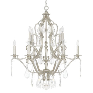 Blakely Antique Silver Ten-Light Chandelier with Clear Crystals