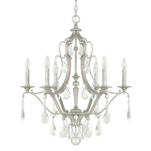 Blakely Antique Silver Six-Light Chandelier with Clear Crystals