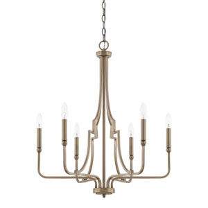 Dawson Aged Brass Six-Light Chandelier