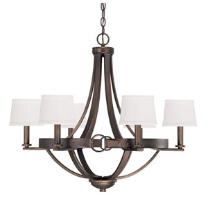 Chastain Tobacco Six Light Chandelier with Shades