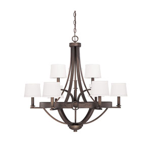 Chastain Tobacco Nine Light Chandelier with Shades