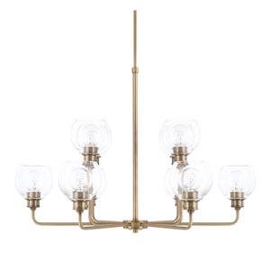 Mid-Century Aged Brass 10-Light Chandelier