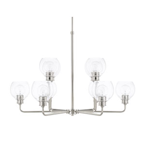 Mid-Century Polished Nickel 10-Light Chandelier