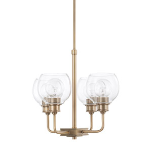 Mid-Century Aged Brass Four-Light Chandelier