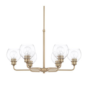 Mid-Century Aged Brass Six-Light Chandelier