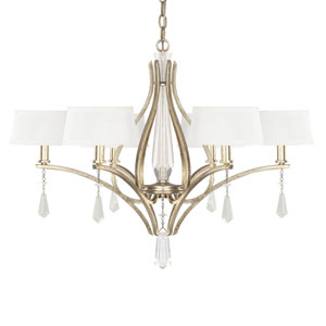 Margo Winter Gold Six-Light Chandelier with Fabric Shade