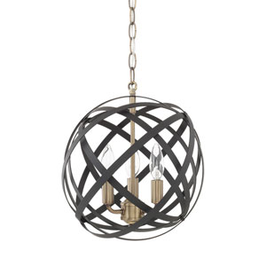 Axis Aged Brass and Black Three-Light Pendant