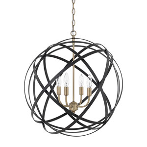 Axis Aged Brass and Black Four-Light Pendant