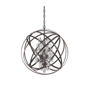 Axis Four Light Pendant with Crystals - Russet