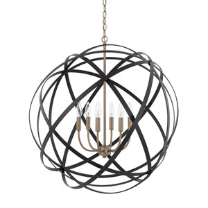 Axis Aged Brass and Black Six-Light Pendant