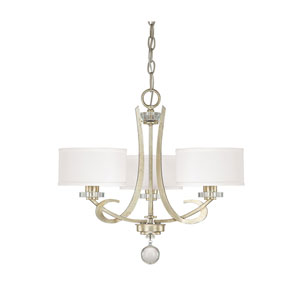 Hutton Winter Gold Three Light Chandelier with Shades