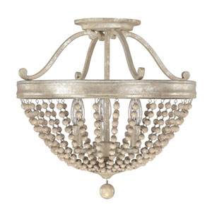 Adele Silver Quartz Three-Light Semi-Flush with Wood Bead