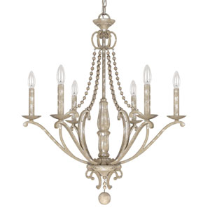 Adele Silver Quartz Six-Light Chandelier with Wood Bead