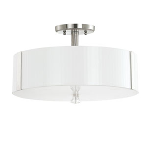 Alisa Polished Nickel Three-Light Semi Flush