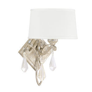 Harlow Silver Quartz One-Light Sconce with Crystal