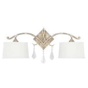 Harlow Silver Quartz Two-Light Sconce with Crystal