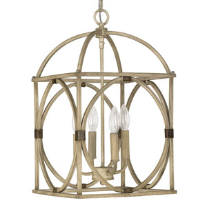 French Oak Four-Light Foyer Pendant