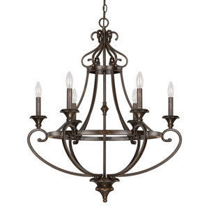Maxwell Chesterfield Brown Six-Light Chandelier
