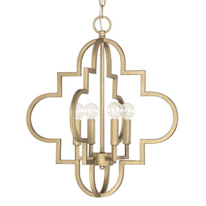 Ellis Brushed Gold 18-Inch Wide Four-Light Pendant