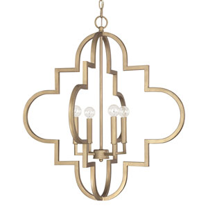 Ellis Brushed Gold 26-Inch Wide Four-Light Pendant