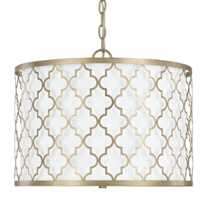 Ellis Brushed Gold Three-Light Dual Mount Pendant
